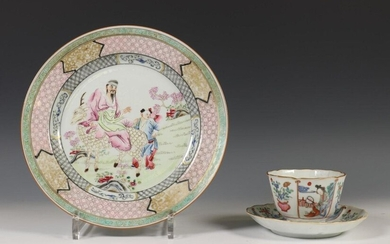 China, famille pink plate and cup and saucer,...