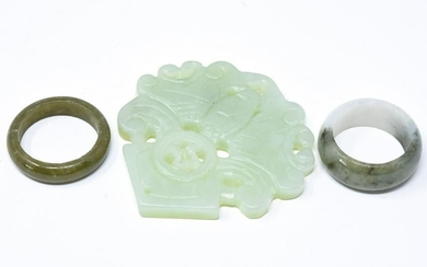 Chinese Carved Green Jade Archer's Rings & Pendant