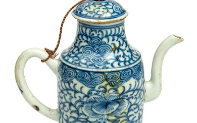 Chinese Coffee pot with lid in white and blue