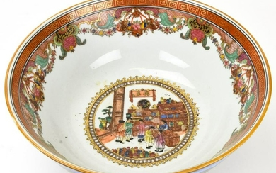 Chinese Style Painted Porcelain Centerpiece Bowl