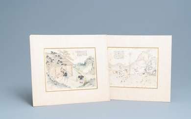 Chinese school, ink and colour on paper, 19th C.: 'Two scenes with figures in a landscape'