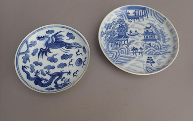 "Chinese porcelain bowl with blue and white decoration of a lake landscape, known as the ""Hué landscape"". Second half of the 19th century. Mark with two characters under the base. Diameter: 16.5 cm. (Minute shelling along the edge)."
