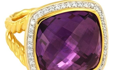 David Yurman Albion Ring with Amethyst and Diamonds in