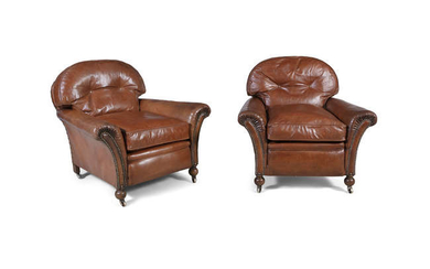 Description A PAIR OF BROWN LEATHER UPHOLSTERED CLUB ARMCHAIRS,...