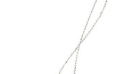 Diamond, White Gold Pendant-Necklace The flower-shaped pendant-necklace features full-cut...