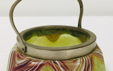 EARLY 20TH C ART GLASS BASKET ATTR. TO LOETZ