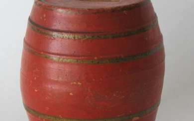 Early Red Ware Pottery Barrel Bank.
