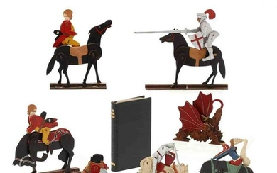 Eleven of Crandall's John Gilpin Figures and Book