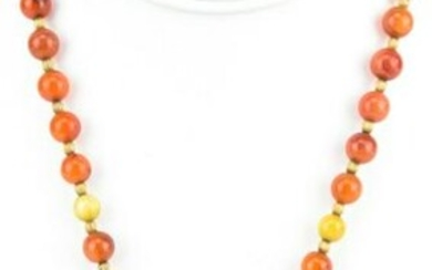 Estate Chinese Carnelian & Soapstone Necklace