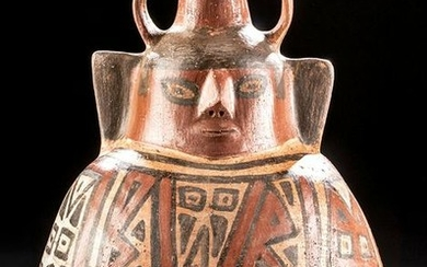 Extremely Rare Huari Polychrome Vessel - Janus Heads