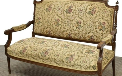 FRENCH LOUIS XVI STYLE WALNUT UPHOLSTERED SOFA