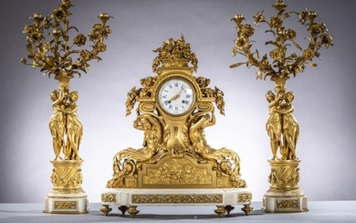Fine Louis XVI style clock set in gilt bronze and marble by Cotiny ‡ Bruxel