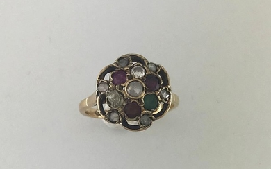 Flower openwork ring in 750°/°° gold set with...