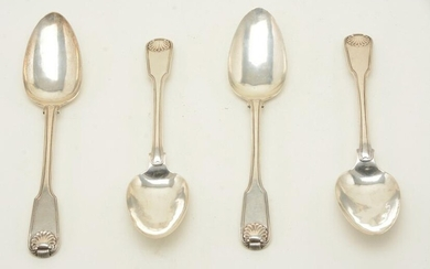 Four Chinese export silver tablespoons marked KHC and