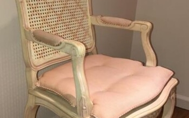 French Provencal Carved & Caned Arm Chair, Cushion
