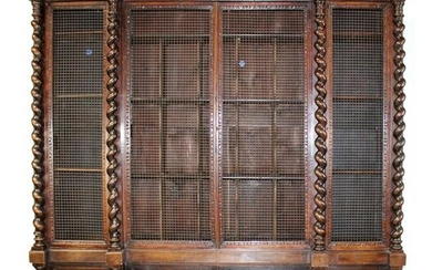 French carved walnut 4 door bookcase with barley twist
