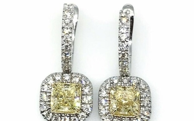GIA Fancy Yellow and White Diamond Drop Earrings in 18k