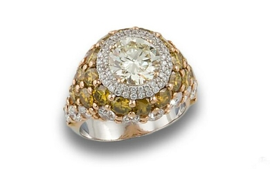 GOLD RING WITH BROWNISH DIAMONDS