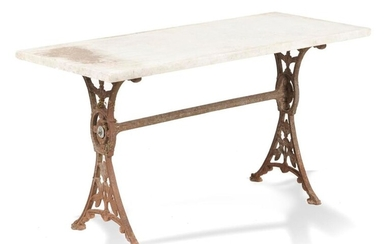 Garden Tables/Furniture: A cast iron table with marble top