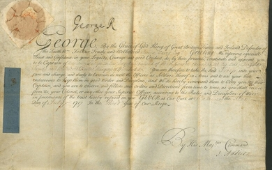 "Great Britain King George I 1717 (6 July) military appointment on vellum signed ""George R"" at t..."
