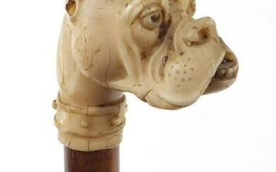 Hardwood walking stick with Boxer dog's head design