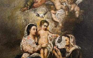 Italian School 18th Cent. Religious Scene Oil on Copper