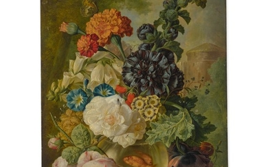 JAN VAN OS   STILL LIFE OF VARIOUS FLOWERS ARRANGED IN A GLASS VASE WITH GOLDFISH, TWO BUTTERFLIES, AND OTHER INSECTS, ALL ON A STONE LEDGE