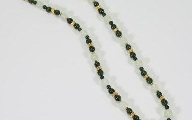 Jade Bead Necklace and 14KY Gold Jade Pendant