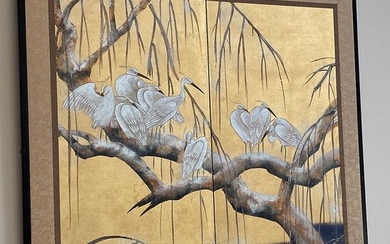 Japanese Gilt Decorated Hand Painted Two Panel Folding Screen, RM2A