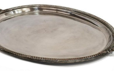 LARGE FRENCH SILVER PLATE HANDLED SERVICE TRAY