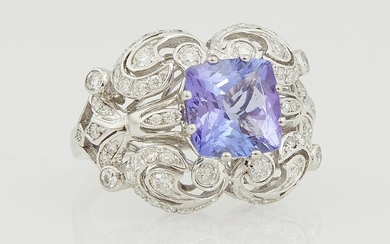 Lady's Platinum Dinner Ring, with a 3.27 cushion cut