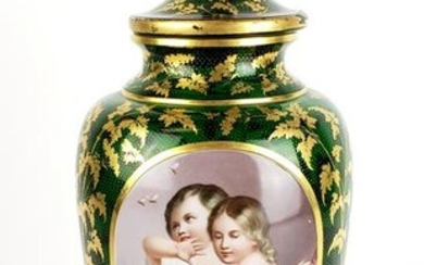 Large 19th C. Bohemian Handpainted Crystal Gilt Vase