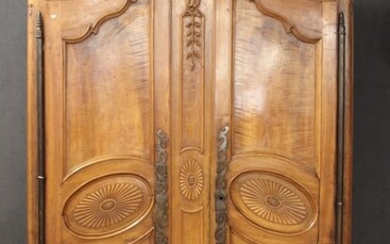 Late 18th century cabinet in walnut and fruit wood, moulded...
