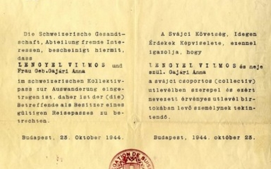 Letter of Sponsorship from the Swiss Embassy, Issued by Righteous Gentile Carl Lutz. Budapest, 1944