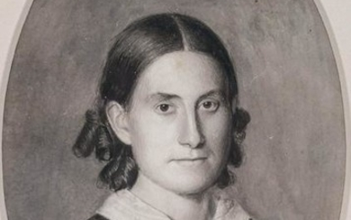 Levi North (1821- American) Miniature Portrait of Laura