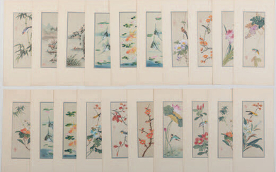 Lot composed of 20 painted silks representing birds and landscapes.