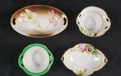 Lot of 4 Handpainted Serving Bowl Dishes