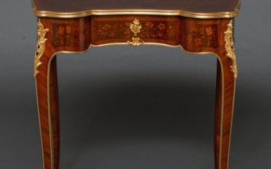 Louis XVI style French table in palorosa and lemon tree wood with floral marquetry. French work, XIX Century