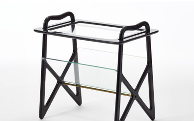 Magazine rack in solid mahogany wood structure, removable tray and...