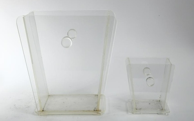 Modernist Clear Lucite Ice Buckets, 2