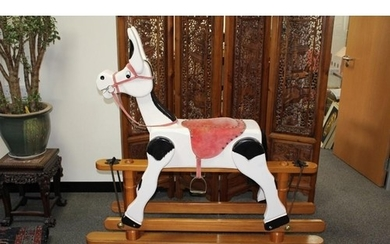 Muffin the Mule; wooden rocking mule; painted black and whit...