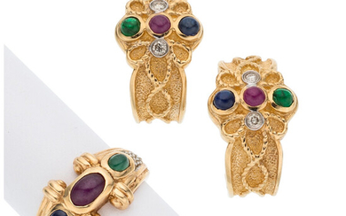 Multi-Stone, Diamond, Gold Jewelry The lot suite consists of...