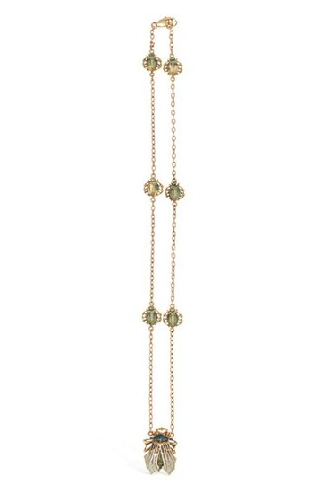 Necklace chain in 18k (750) yellow gold decorated with six...