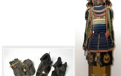 Nimai gusoku samurai armor. Technique of black lacquered hon-kozane slats, the odoshi lacing is made by light blue, dark blue and white kebiki silk cords inspired by an ancient model. This armour includes: a breastplate completed by shoulder pads...