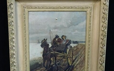 OIL ON BOARD CANVAS HORSE & BUGGY RIDE WITH CARVED