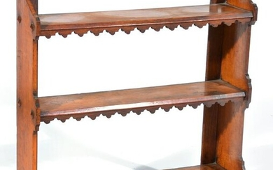 Oak Three Tier Wall Shelf with cut out detail.