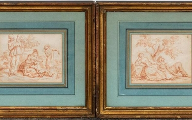 PAIR, 18TH C., CONTE CRAYON FRENCH SCHOOL DRAWINGS