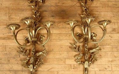 PAIR CAST BRONZE THREE ARM WALL SCONCES