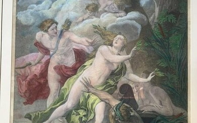 Painted Engraving Daphne and Apollo
