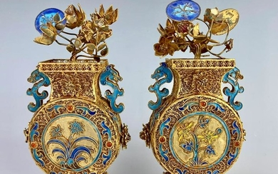 Pair of 19th C. Chinese Silver & Enamel Miniature Urns